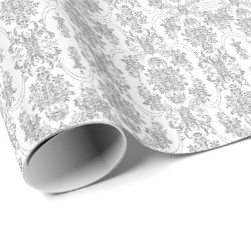 Elegant Silver Gray & White Ornate Floral Pattern Wrapping Paper