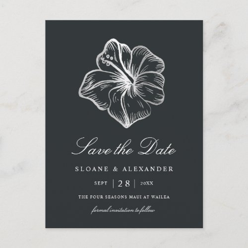 Elegant Silver Hibiscus Flower Save the Date Announcement Postcard