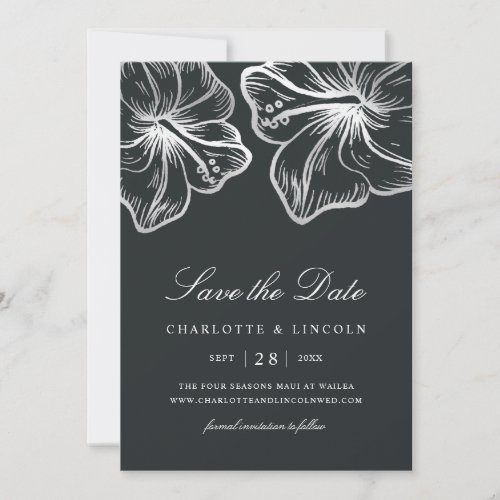Elegant Silver Hibiscus Flower Wedding Save The Date