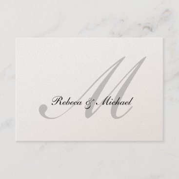 Elegant Silver Monogram Wedding RSVP Card