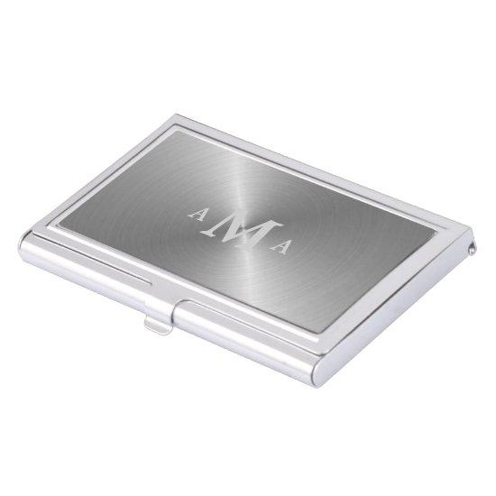 Elegant Silver Triple Monogram Business Card Case