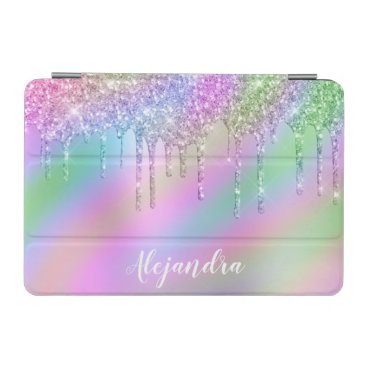 Elegant stylish colorful holographic glitter drips iPad mini cover