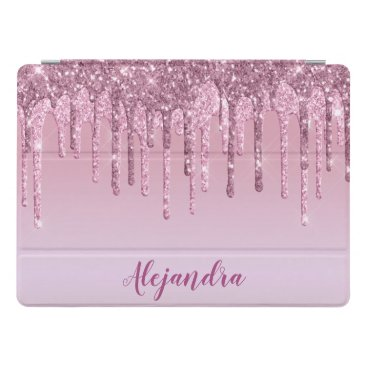 Elegant stylish pink rose gold glitter drips iPad pro cover