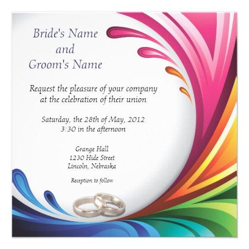 Elegant Swirling Rainbow Splash Invite 3
