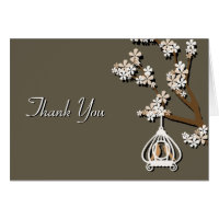 Elegant Tan Love Birds Wedding Thank You Card