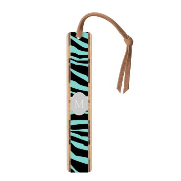 Elegant Teal & Black zebra stripes with monogram Bookmark