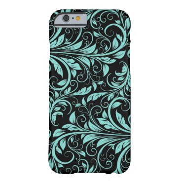 Elegant teal blue and black damask floral pattern barely there iPhone 6 case