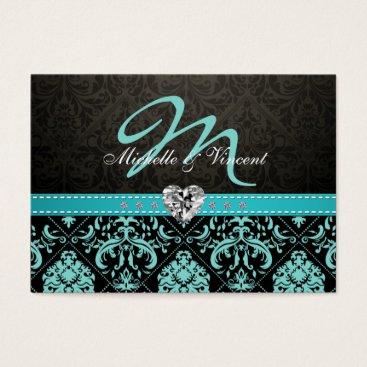Elegant Teal Blue and Black Damask Monogram RSVP Business Card