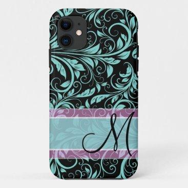 Elegant teal blue and black damask with monogram iPhone 11 case