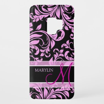 Elegant teal blue and black damask with monogram Case-Mate samsung galaxy s9 case