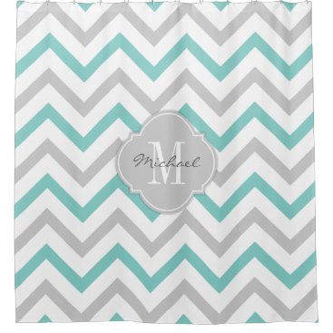 Elegant Teal blue and gray Chevron with Monogram Shower Curtain