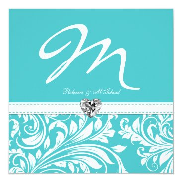 Elegant Teal Monogram Wedding Invites with Diamond
