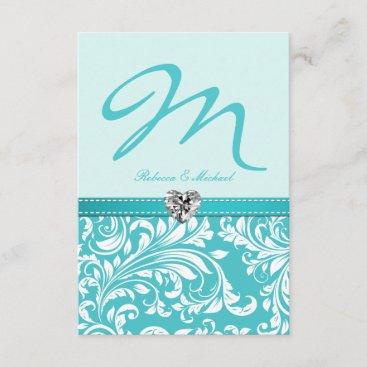 Elegant Teal Monogram Wedding RSVP Cards