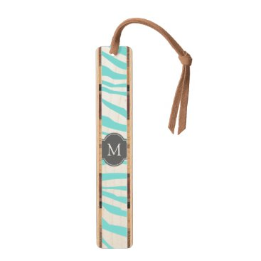 Elegant Teal & white zebra stripes with monogram Bookmark
