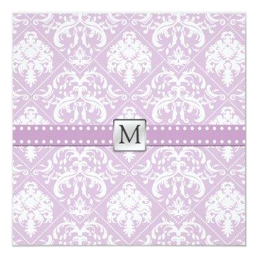 Elegant Thistle Purple and white vintage damask Invitation