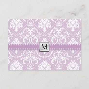 Elegant Thistle Purple & White Vintage Damask RSVP