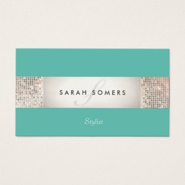 Elegant Turquoise FAUX Silver Sequin Monogram 2 Business Card