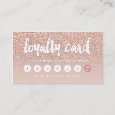 elegant typography blush rose gold loyalty card