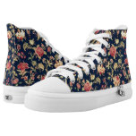 ❤️ Elegant Vintage Blue Rose Floral High-Top Sneakers