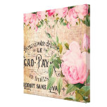 Sweet Soft Pink Vintage Roses Decoupage Canvas Print (also available as a poster)