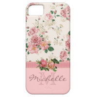 Elegant Vintage Pink Floral Rose Monogram Name iPhone 5/5S Case
