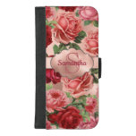 Elegant Vintage Pink Red Roses Floral Monogrammed iPhone 8/7 Plus Wallet Case