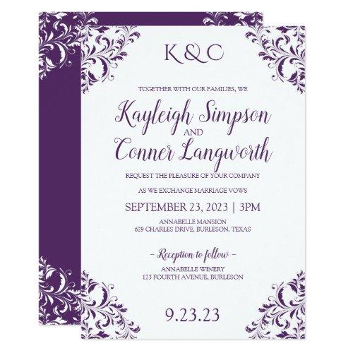 Elegant Vintage Purple (Plum) Wedding Invitations