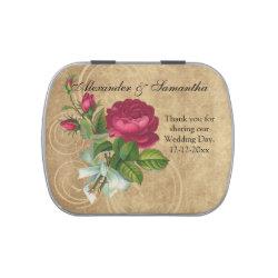 Elegant Vintage Rose, Magenta Custom Wedding Favor Candy Tin