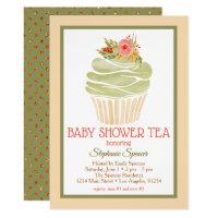 Elegant Watercolor Cupcake Baby Shower Tea Card