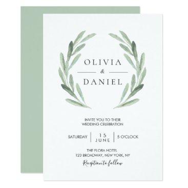Elegant Watercolor Olive Leaf Wreath Green Wedding Card