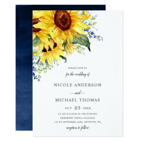 Elegant Watercolor Sunflowers Floral Wedding Invitation