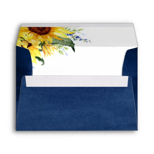Elegant Watercolor Sunflowers Return Address A7 Envelope