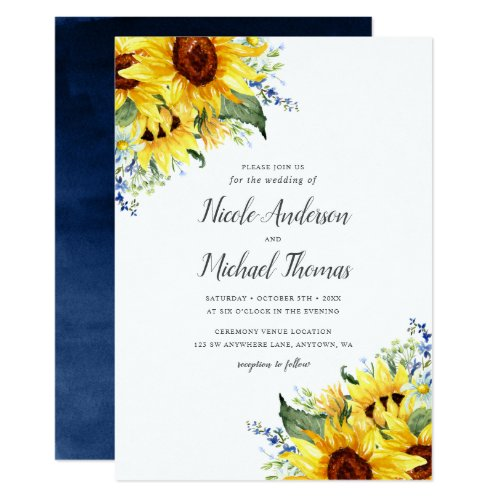 Elegant Watercolor Sunflowers Wedding Invitation