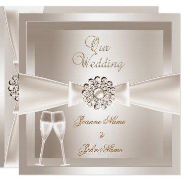 Elegant Wedding Damask Cream White Champagne Card