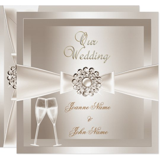 Elegant Wedding Damask Cream White Chagne Card