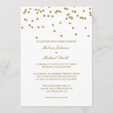 Elegant White and Gold Polka-dots Confetti Wedding Invitation