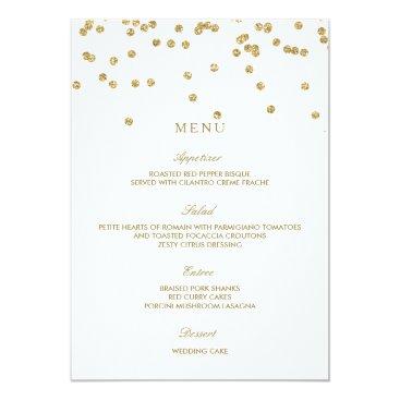 Elegant White and Gold Polka Dots Wedding Menu Card