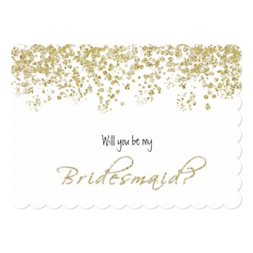 Elegant White and Gold Will you be my bridesmaid? Card