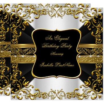 Elegant White Black Gold Ornate Birthday Party Card