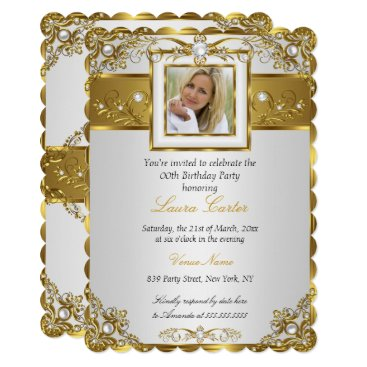Elegant White Gold Pearl Damask Photo Birthday 3 Card