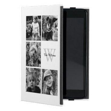 Elegant White Photo Collage and Monogram iPad Mini Case