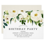 Elegant White Roses All Years Birthday Party Invitation