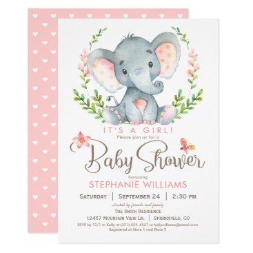 Elephant Baby Shower, Girl Card