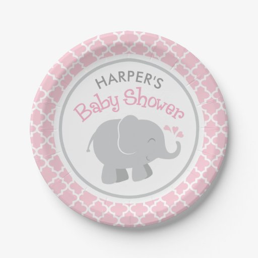 Plates Baby Pink Shower Elephant