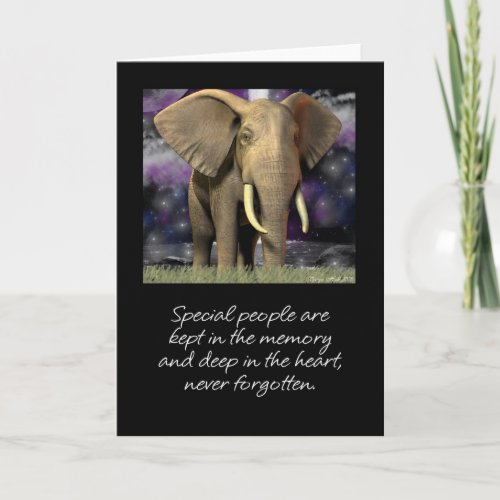 Elephant card blank never forget (sympathy)