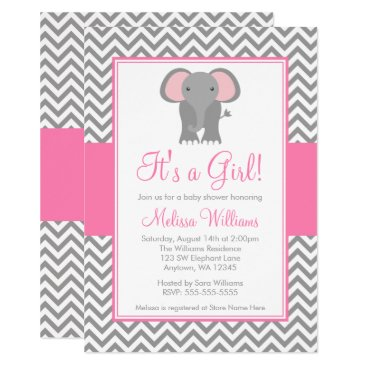 Elephant Chevron Pink Gray Girl Baby Shower Invitation