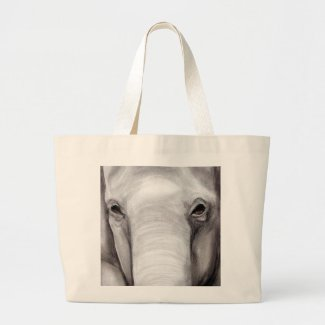 Elephant Elephants Wildlife Charcoal Drawing Canvas Bags