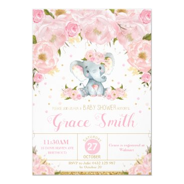 Elephant Floral Baby Shower Invitation Girl