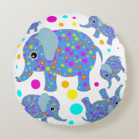 Elephant flowers polka dot colorful kids room round pillow