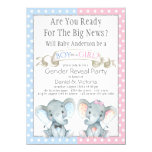 Elephant Gender Reveal Baby Shower Invitations